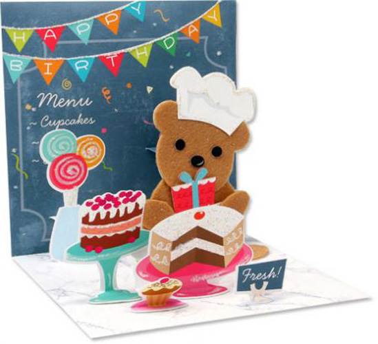 Bakery Bear (1 card/1 envelope) Up With Paper Pop-Up Birthday Card - FRONT: Bakery - See inside for specials!  INSIDE: Happy Birthday