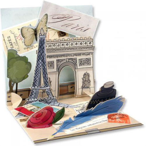 Paris (1 card/1 envelope) Up With Paper Pop-Up Greeting Card - FRONT: Paris  INSIDE: Choose your message