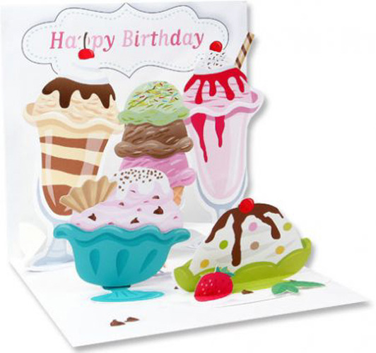 Ice Cream (1 card/1 envelope) Up With Paper Pop-Up Birthday Card - FRONT: Ice Cream  INSIDE: Happy Birthday