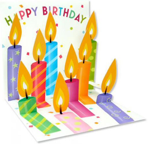 Birthday Candles (1 card/1 envelope) Up With Paper Pop-Up Birthday Card  INSIDE: Happy Birthday