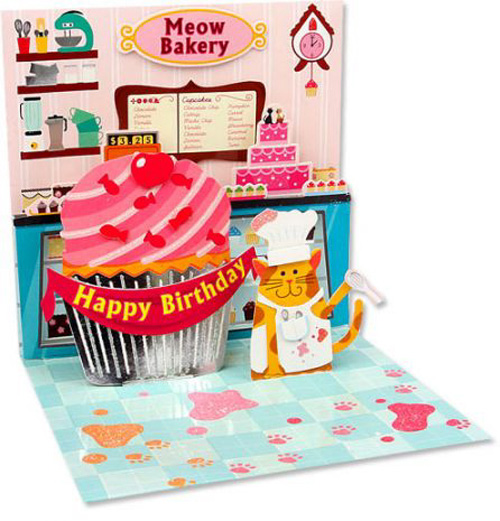 Cupcake Cat (1 card/1 envelope) - Birthday Card  INSIDE: Meow Bakery - Happy Birthday