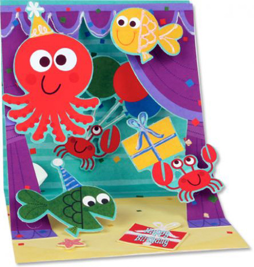 Aquatic Puppets (1 card/1 envelope) Up With Paper Pop-Up Birthday Card  INSIDE: Happy Birthday