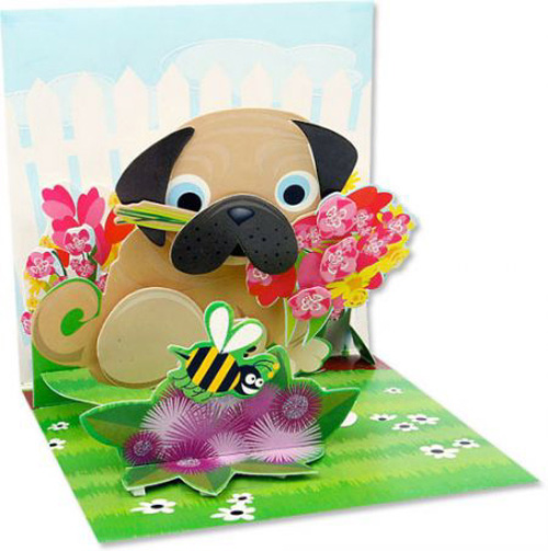Pug Bouquet (1 card/1 envelope) Up With Paper Pop-Up Greeting Card  INSIDE: Choose your own message