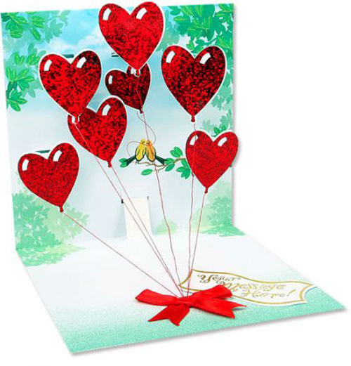 Heart Balloons (1 card/1 envelope) Up With Paper Pop-Up Greeting Card  INSIDE: Choose your own message