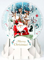 Sledding Santa Snow Globe (1 card/1 envelope) Up With Paper Pop-Up Christmas Card