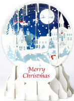 Village Silhouette Snow Globe (1 card/1 envelope) Up With Paper Pop-Up Christmas Card