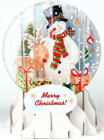 Snowman Snowglobe (1 card/1 envelope) Up With Paper Pop-Up Christmas Card