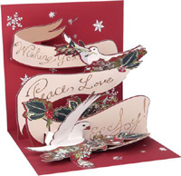 Peace Doves (1 card/1 envelope) - Christmas Card - FRONT: Noel  INSIDE: Wishing You Peace, Love & Joy!