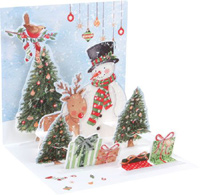 Snowman and Deer (1 card/1 envelope) - Christmas Card