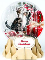 Holiday Cat Snowglobe (1 card/1 envelope) - Christmas Card  INSIDE: Merry Christmas