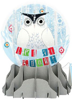 Snowy Owl Large Snowglobe (1 card/1 envelope) - Christmas Card  INSIDE: Let it Snow!