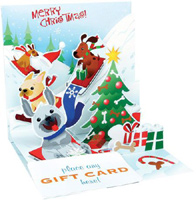 Sledding Dogs (1 gift card holder/1 envelope) - Christmas Gift Card Holder  INSIDE: Merry Christmas!