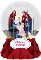 Nativity Snow Globe Pop Up (1 card/1 envelope) Up With Paper Religious Christmas Card