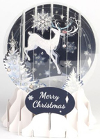 Reindeer Silhouette Snow Globe Pop Up (1 card/1 envelope) Up With Paper Christmas Card